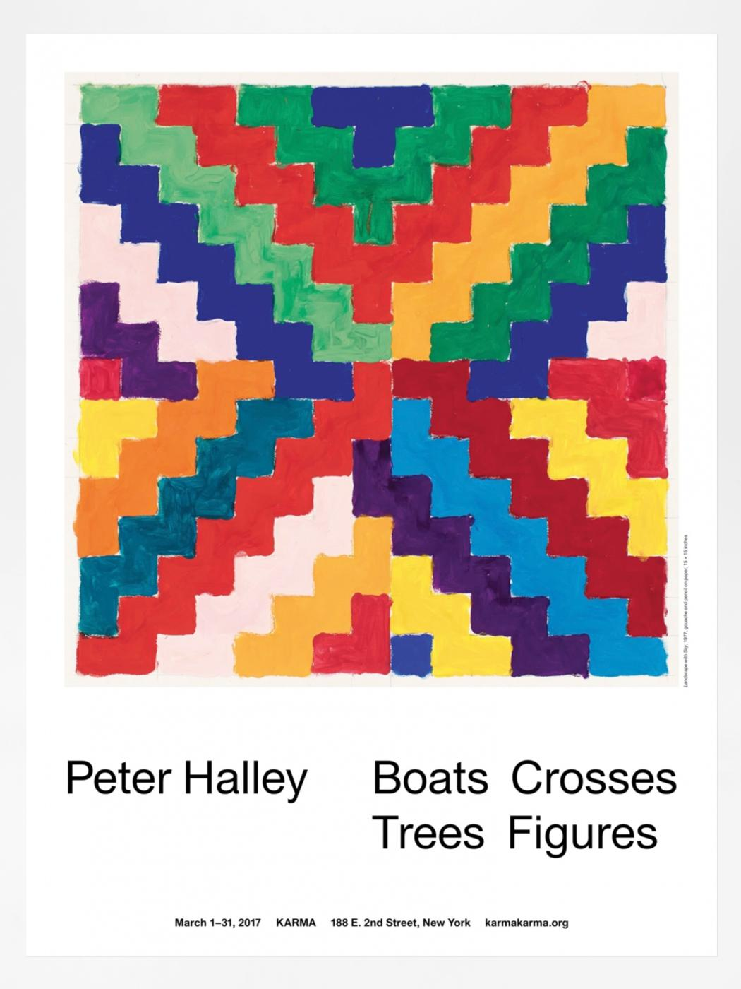 Peter Halley, Boats Crosses Trees Figures Gouaches 1977–78 Poster